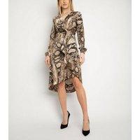 Miss Attire Brown Snake Print Wrap Dress New Look