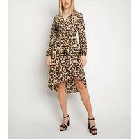 Miss Attire Brown Leopard Print Wrap Dress New Look