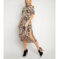 Miss Attire Brown Leopard Print Shirt Dress New Look
