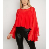 Miss Attire Red Layered Chiffon Blouse New Look