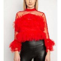 Miss Attire Red Ruffle Loop Trim Mesh Top New Look