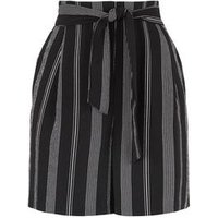 Tall Black Stripe Belted Shorts New Look