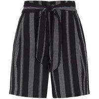 Petite Black Stripe Tie High Waist Shorts New Look