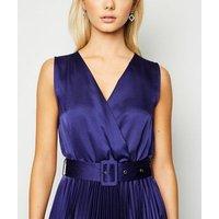 Blue Satin Belted Hanky Hem Pleated Midi Dress New Look