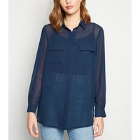 Navy Chiffon Utility Pocket Shirt New Look