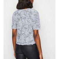 Grey 3D Floral Mesh Top New Look