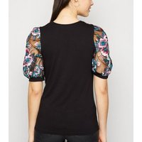 Black Floral Embroidered Mesh Sleeve Top New Look
