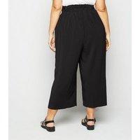 Curves Black Tie Waist Crop Trousers New Look