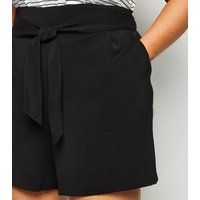 Curves Black Belted Shorts New Look