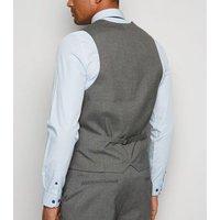 Dark Grey Button Up Waistcoat New Look