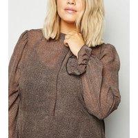 Curves Rust Animal Print Puff Sleeve Chiffon Midi Dress New Look