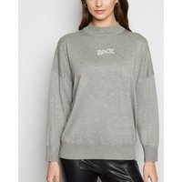 Cameo Rose Grey Rock and Roll Slogan Jumper New Look