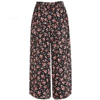 Black Floral Wide Leg Crop Trousers New Look