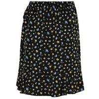 Black Floral Mini Wrap Skirt New Look