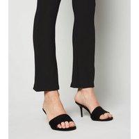 Black Ribbed Flared Leggings New Look