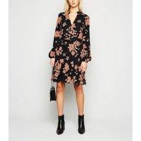 Black Floral Frill Trim Smock Dress New Look