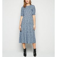 Blue-Spot-Puff-Sleeve-Midi-Dress-New-Look