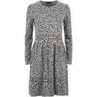 Light Grey Leopard Jacquard Mini Dress New Look
