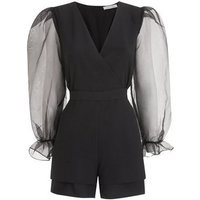 Another Look Black Organza Puff Sleeve Playsuit New Look