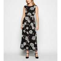 StylistPick Black Chiffon Floral Maxi Dress New Look