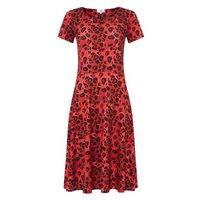 StylistPick Red Leopard Print Skater Dress New Look