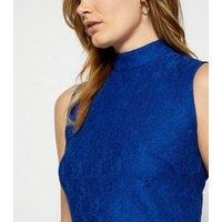 StylistPick Bright Blue Lace High Neck Dress New Look