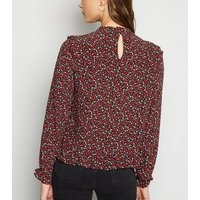 Black Ditsy Floral Frill Trim Blouse New Look