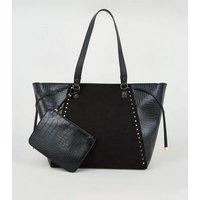 Black Tote Bag with Detachable Purse New Look Vegan