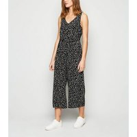 Black Spot Tie Waist Cropped Jumpsuit New Look