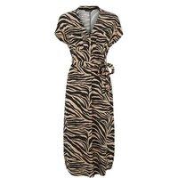 Brown Tiger Print Tunic Midi Dress New Look