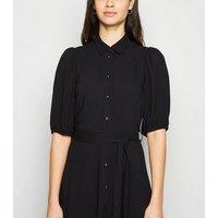 Black Puff Sleeve Midi Shirt Dress New Look
