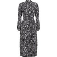 Black Animal Print Ruffle Front Midi Dress New Look