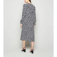 Black Floral Frill Long Sleeve Midi Dress New Look