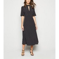 Black Spot Flutter Sleeve Midi Dress New Look