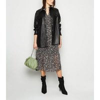 Black Floral Long Sleeve Midi Smock Dress New Look