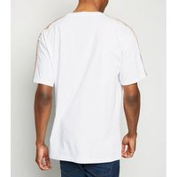 White Zig Zag Tape Sleeve T-Shirt New Look