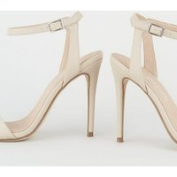 Cream Leather-Look 2 Part Stiletto Sandals New Look Vegan