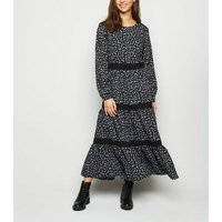 JDY Black Floral Tiered Maxi Dress New Look