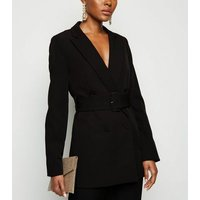 Black Double Breasted Belted Blazer New Look