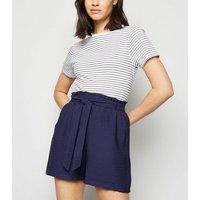 Navy Tie Waist Twill Shorts New Look