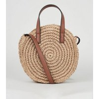 Stone Straw Effect Round Contrast Strap Cross Body Bag New Look Vegan