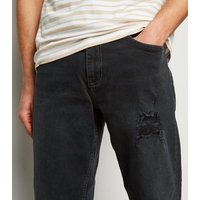 Men's Black Ripped Straight Leg Jeans New Look