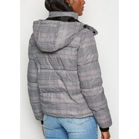 QED Light Grey Check Hooded Puffer Jacket New Look