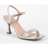 Silver Metallic Diamante Strap Slim Flared Heels New Look