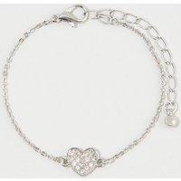 Silver Diamante Heart Bracelet New Look
