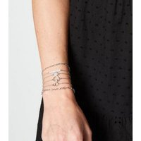 6 Pack Silver Pendant Chain Bracelets New Look