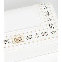 White Leather-Look Laser Cut Chain Shoulder Bag New Look Vegan
