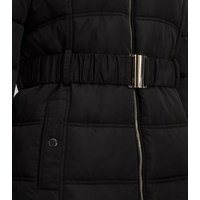 Black Faux Fur Hood Fitted Puffer Jacket New Look