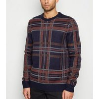 Bellfield Navy Check Brushed Jumper New Look