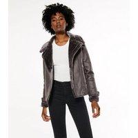 Dark Grey Faux Fur Lined Leather-Look Aviator Jacket New Look
